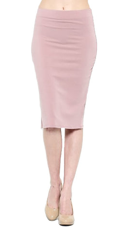 Pink Midi Solid Stretch Pencil Skirt Dusty Mauve Shopaa Hearts & hips