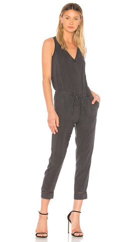 Bella Dahl Cross Back Jumpsuit Smoke Pearl Cut Out Trim V Neck