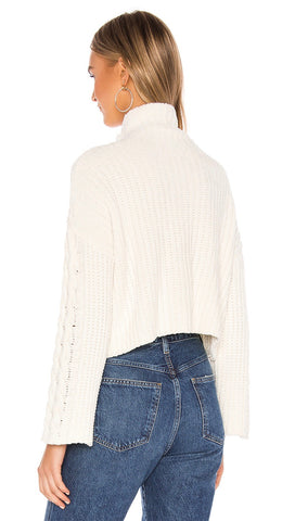 Bella Dahl Cable Sleeve Turtleneck Crop Sweater Winter White | ShopAA