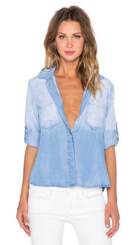 Bella Dahl Sleeveless Split Back Medium Ombre Wash Denim Blue I ShopAA