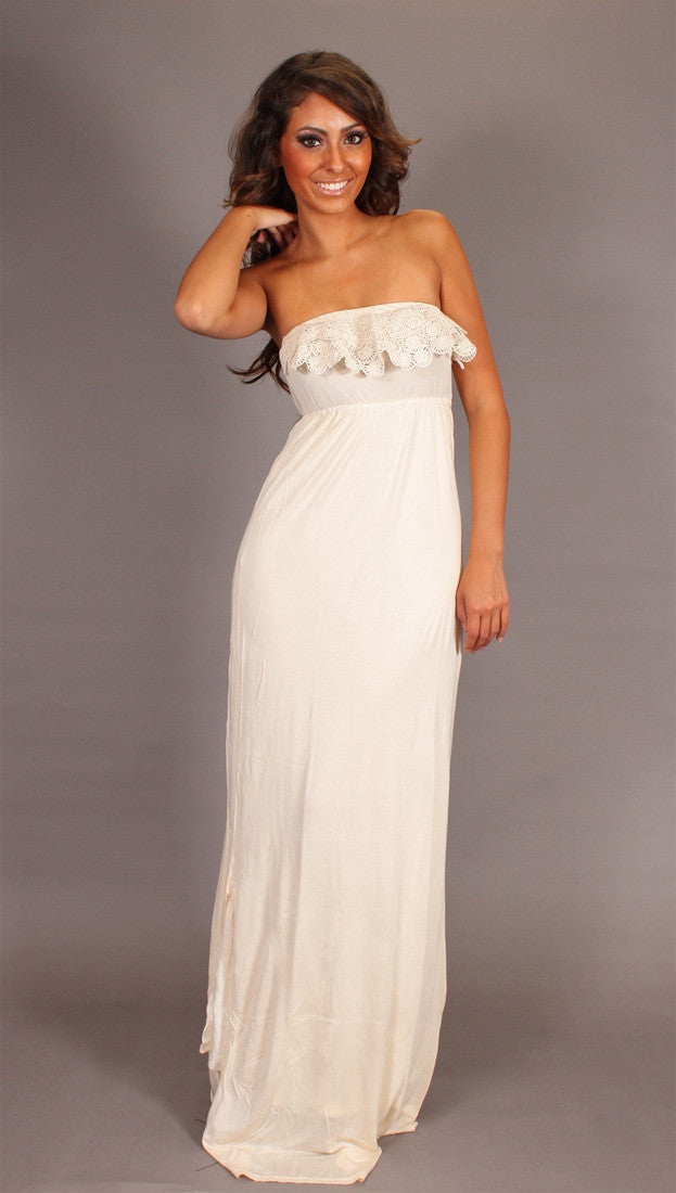Bleu Feather Shane Maxi Tube Dress with Lace in Vanilla