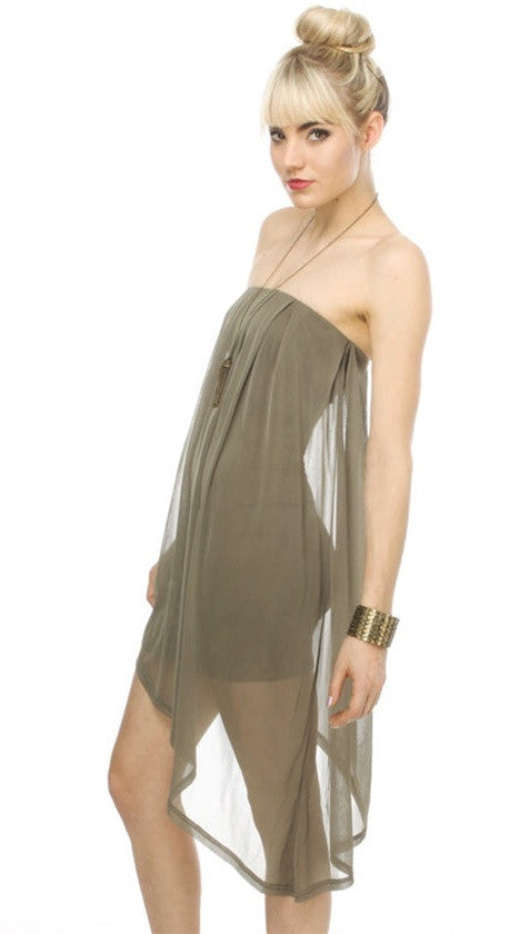 Blaque Label Asymetrical Mesh Tube Dress in Avocado