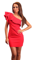 Blaque Label One Shoulder Flamenco Ruffle Mini Dress in Lipstick Red