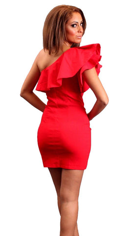 Blaque Label One Shoulder Ruffle Dress in Red