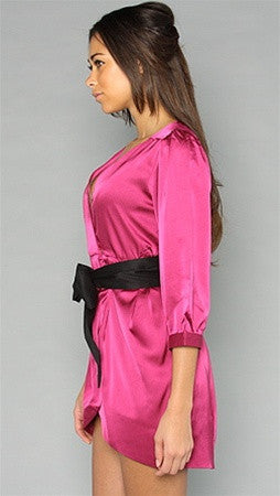 Blaque Label Tulip Dress in Magenta Black Sash Bow