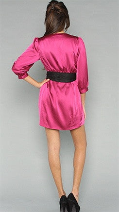 Blaque Label Tulip Dress in Magenta Deep V Plunge