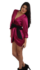 Blaque Label Tulip Dress in Magenta Long Sleeve Satin Pink