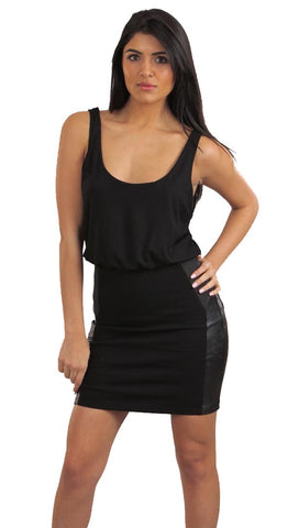 Blaque Label Leather Patch Tank Mini Dress Black