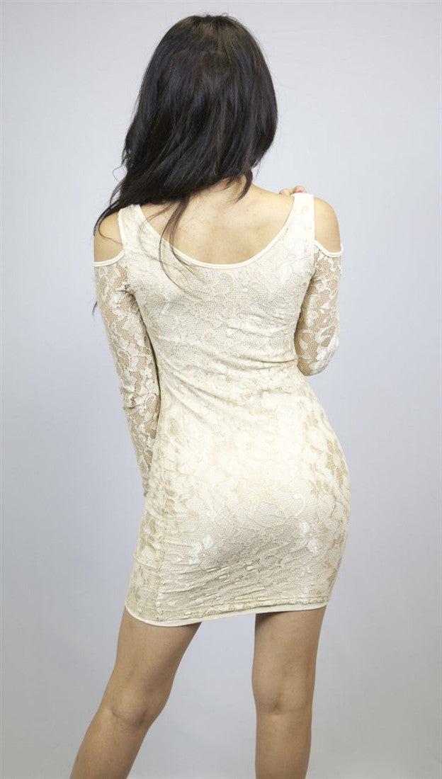 BLQ MKT Cold Shoulder Lace Dress