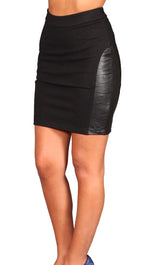 Blaque Label Real Leather Patch Short Skirt