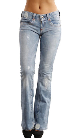 Blue Tattoo Wide Seam Bleach Flare Jeans