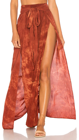Blue Life Grace Wrap Skirt Coral Bay Rust Tie Dye High Waist Sexy Slit