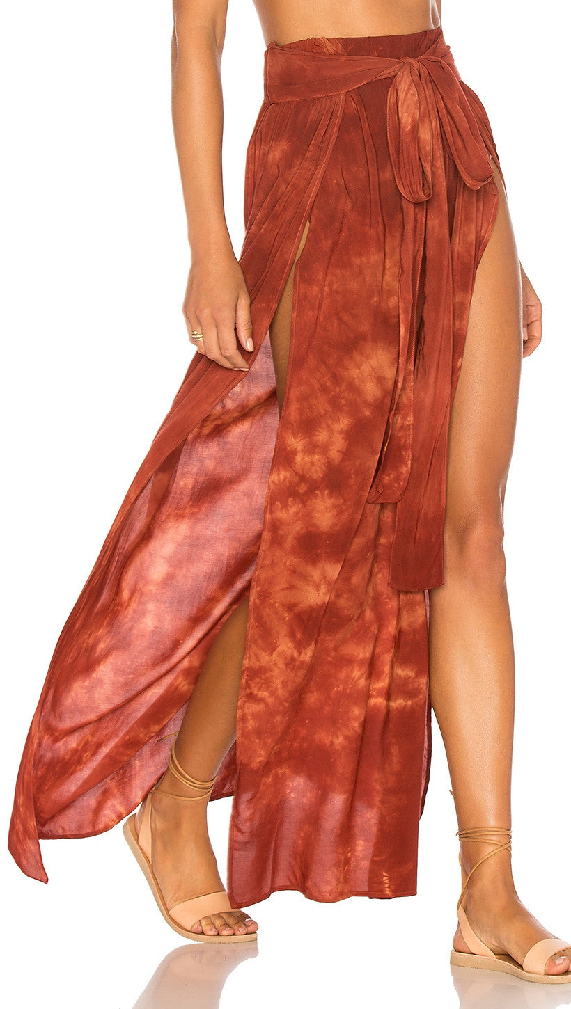 Blue Life Grace Wrap Skirt Coral Bay Tie Dye Red Orange Rust High Waist