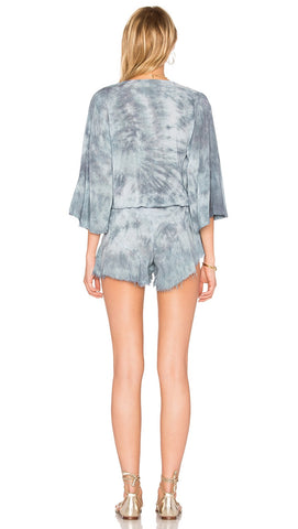 Blue Life Flora Romper Denim Grey Deep V