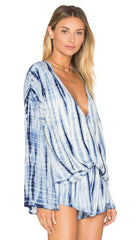 Blue Life Hayley Tie Dye Bell Sleeve Top in Boho Stripe Blue