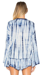 Blue Life Hayley Tie Dye Top in Boho Stripe Blue Bohemian