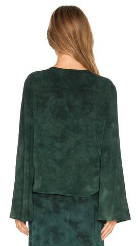 Blue Life Hayley Blouse Top in Emerald Coast Tie Dye Green Back