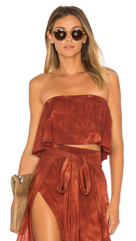Lina Frill Crop Top Coral Bay from Blue Life Strapless