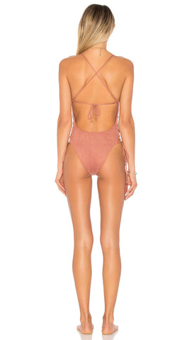 Soleil One Piece Monokini by Blue Life Swim in Sunset Crochet Lace Up