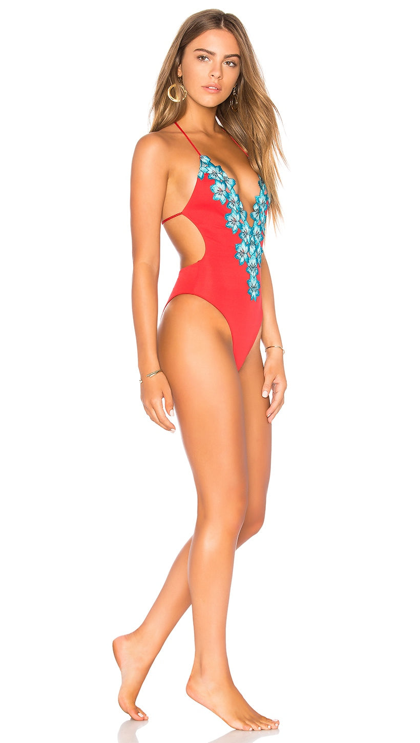 Mirage One Piece Monokini Hibiscus Red Blue Life Swimwear Floral Lace