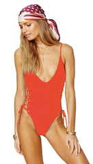 Blue Life Roped Up One Piece Swim Monokini in Fireworks Red l ShopAA