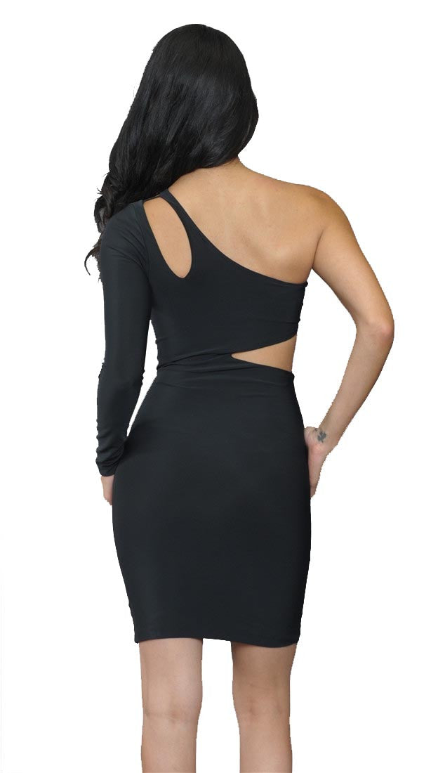 Boulee Ciara Cut Out Long Sleeve Scuba Dress in Black