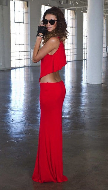 Boulee Cruz Maxi Dress in Hot Coral