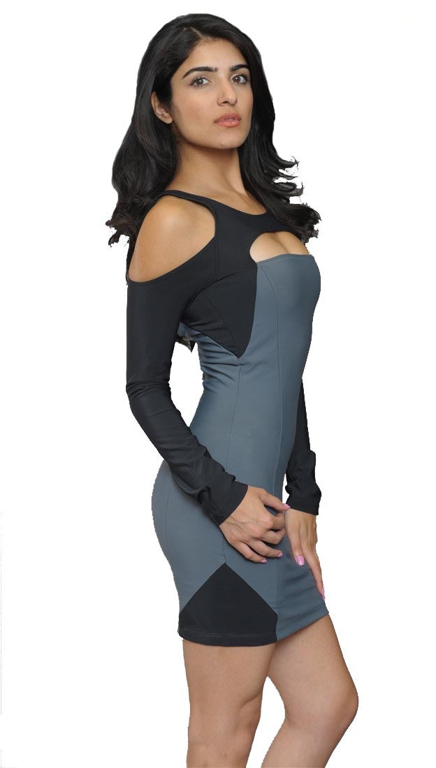 Boulee Shay Cut Out Long Sleeve Dress in Grey Black