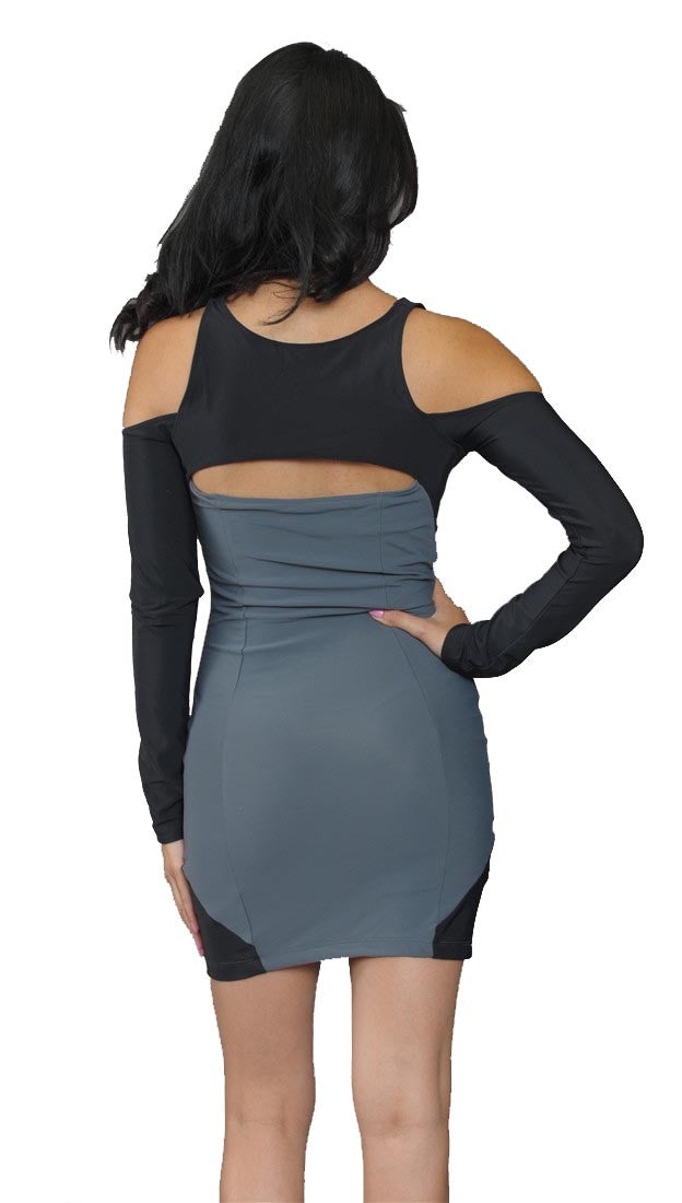 Boulee Shay Long Sleeve Dress in Grey/ Black