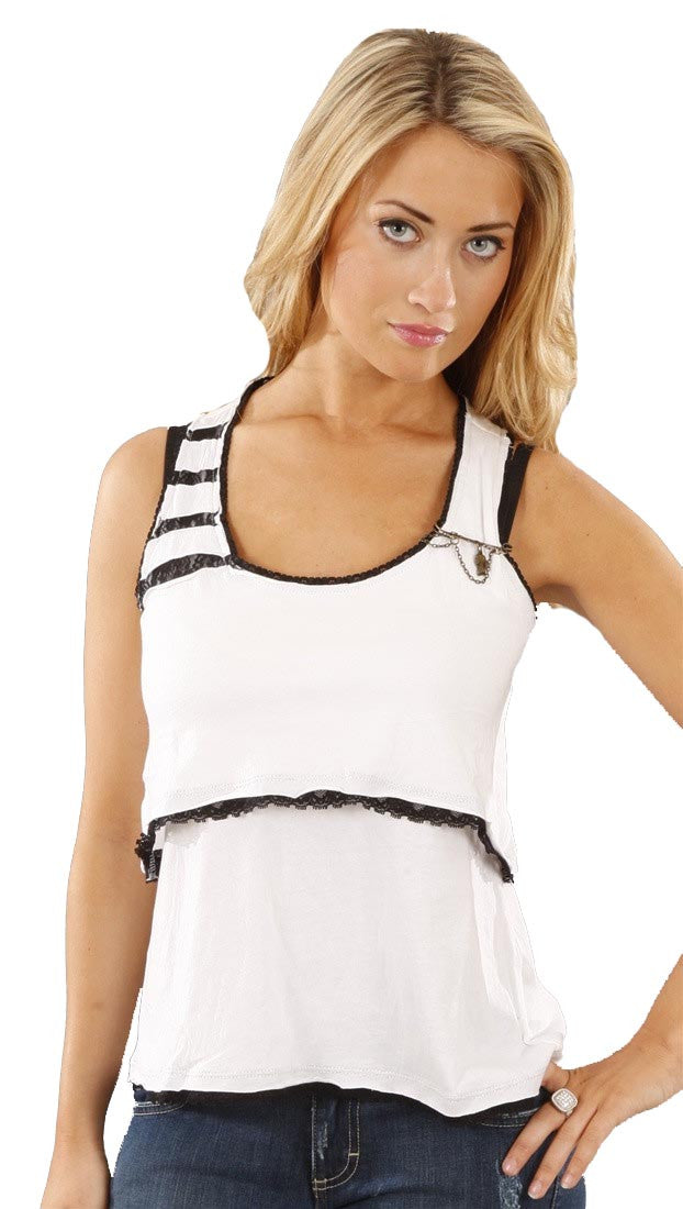 Boy Meets Girl Layer Up Ruffled Cotton Tank in Natural
