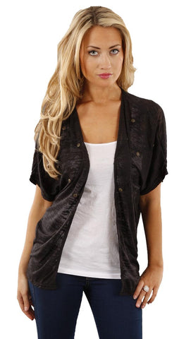 Boy Meets Girl Studded Burnout Cardigan Shrug Shirt in Black