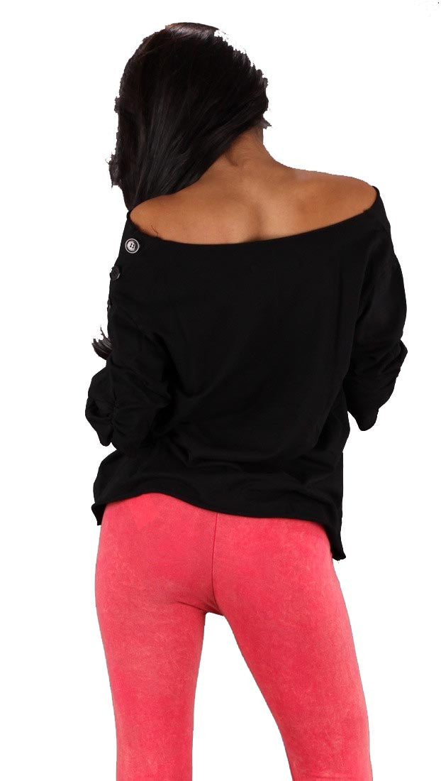 Bread and Butter Off Shoulder Kangaroo Pocket Top Black