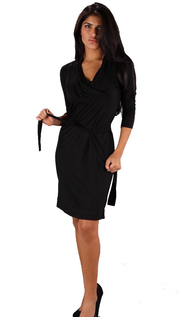 Bread and Butter Cowl Neck Dress w/ Belt