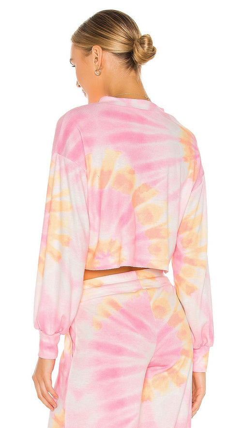 Beach Riot Ava Cropped Sweatshirt Sunrise Tie Dye Balloon Sleeves I ShopAA
