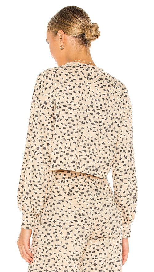 Beach Riot Ava Cropped Sweatshirt Taupe Spot Ribbed Knit Cheetah I ShopAA