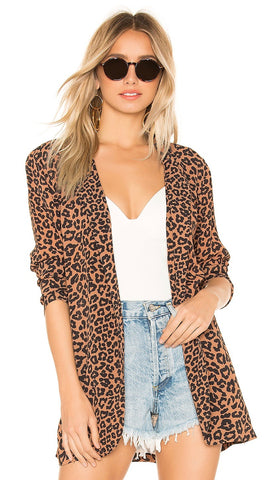 Beach Riot Blake Leopard Animal Blazer Open Front I ShopAA