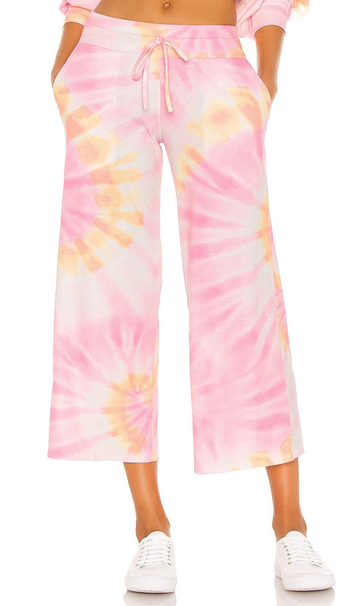 Beach Riot Hailey Cropped Lounge Pants Sunrise Tie Dye Drawstring | ShopAA