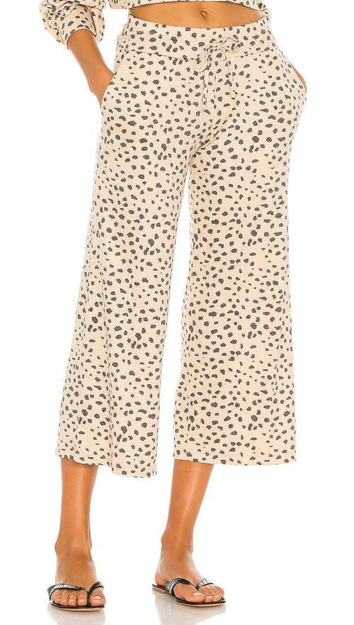 Beach Riot Hailey Pants Taupe Spot Cheetah Cropped Lounge Drawstring | ShopAA