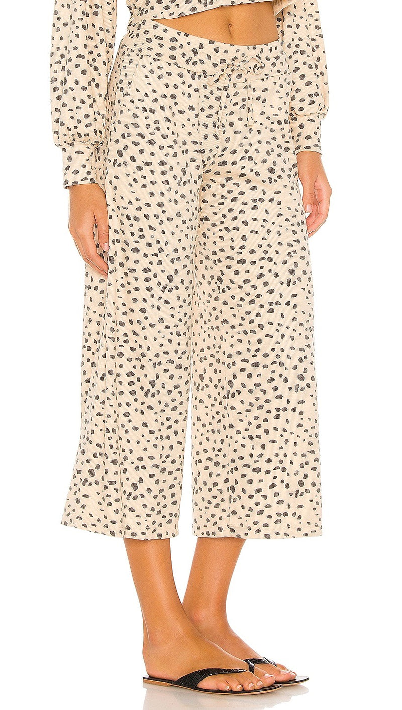 Beach Riot Hailey Pants Taupe Spot Cheetah Cropped Lounge Wide Leg | ShopAA