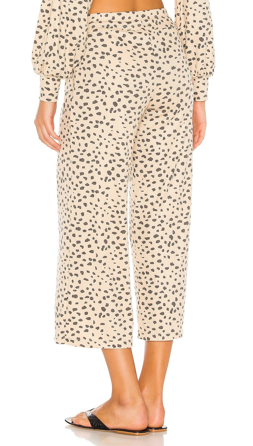 Beach Riot Hailey Pants Taupe Spot Cheetah Cropped Lounge Sweatpants | ShopAA
