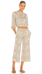Beach Riot Hailey Pants Taupe Spot Cheetah Cropped Lounge Relaxed Fit | ShopAA