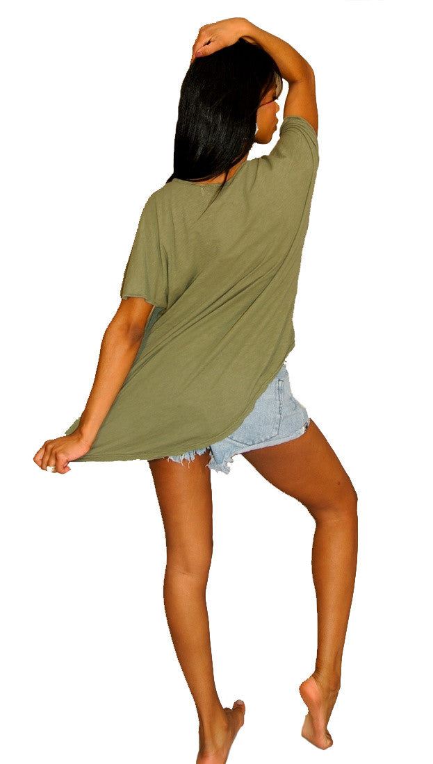 Brokedown I want Candy Asymmetrical Top in Olive