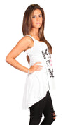 Brokedown Kiss of Death Lips Hi Low Swing Tank Tunic in Mint