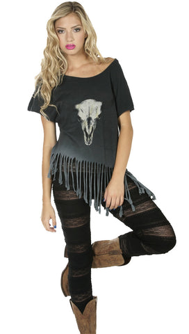 Brokedown Longhorn Fringe Tee in Charcoal Ombre