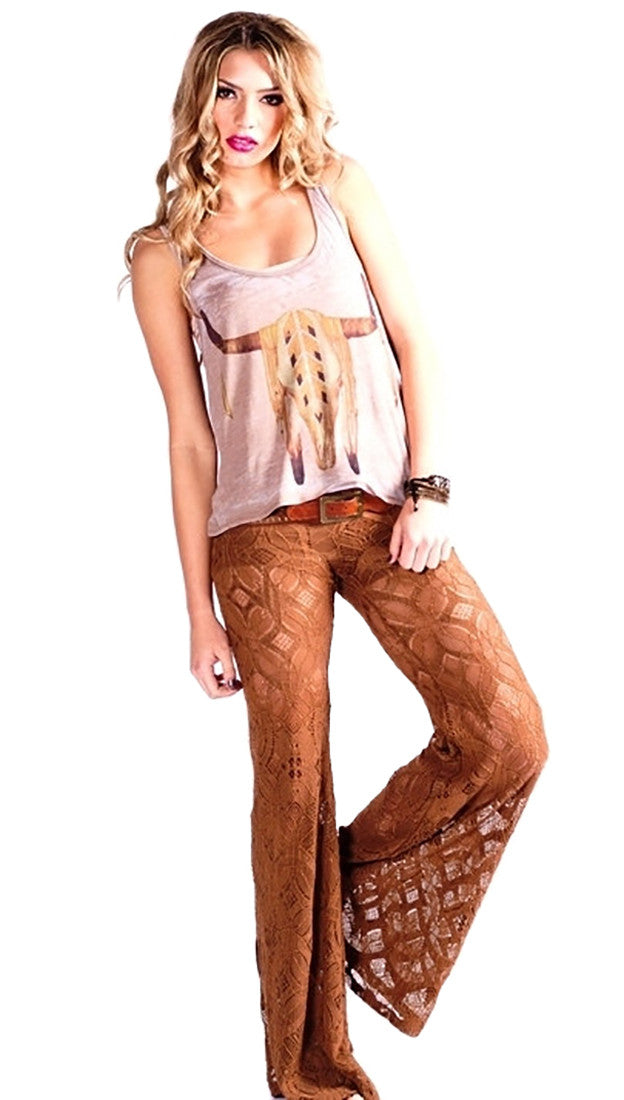 Brokedown Longhorn Button Back Tank in Taupe