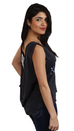 Brokedown No. 7 Sequin Back Swing Tank in Black