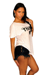 Brokedown Give Thanks Heart Asymmetrical Top in White