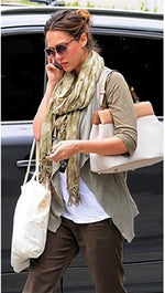 Brokedown Military Marble Scarf in Olive as seen on  Jessica Alba