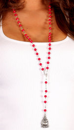 Buddha Rosary Bead Necklace in Red