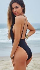 Chynna Dolls Daffodil Plunging Deep V High Cut Black One Piece